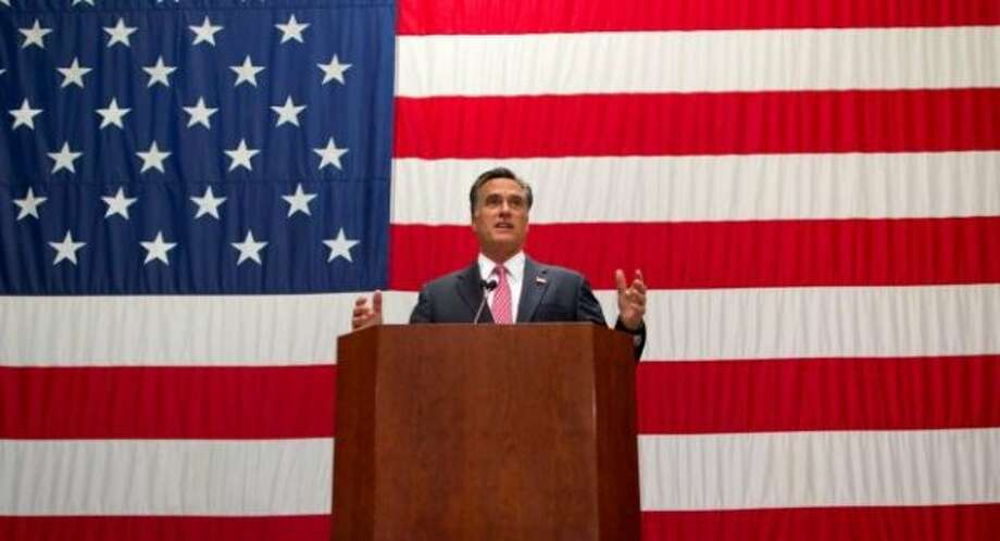 Mitt Romney speaks at USAA in San Antonio on June 6, 2012.