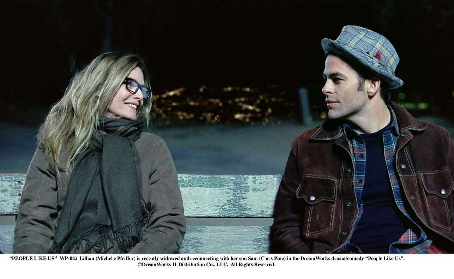 """PEOPLE LIKE US""..WP-043..Lillian (Michelle Pfeiffer) is recently widowed and reconnecting with her son Sam (Chris Pine) in the DreamWorks drama/comedy ""People Like Us""...©DreamWorks II Distribution Co., LLC.  All Rights Reserved. Photo: DreamWorks"