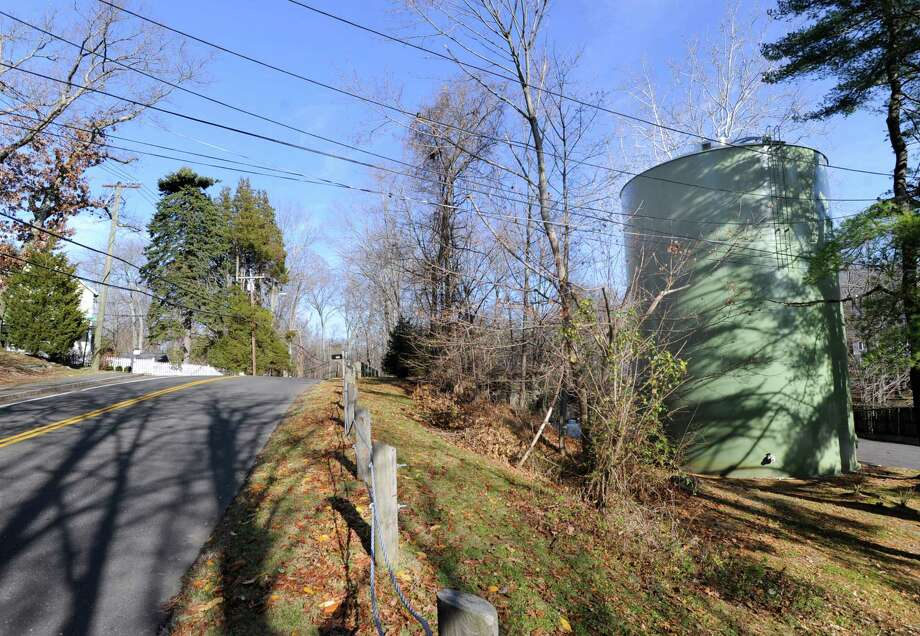 The Aquarion Water Co. water tower seen here, at right, on Valley Road in Greenwich. Photo: Bob Luckey / Greenwich Time