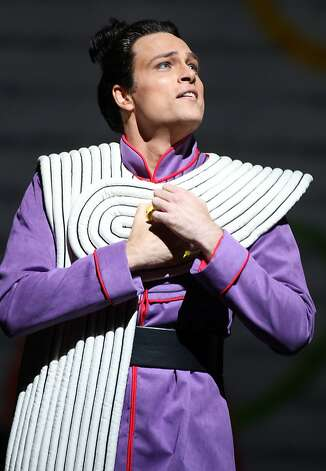"Alek Shrader stars as Tamino in the San Francisco Opera's production of ""The Magic Flute"" at the War Memorial Opera House. The San Francisco Opera presents a new production Mozart's ""The Magic Flute,"" which features over-the-top characters and projected animated sets. Photo: Kevin Johnson, The Chronicle"