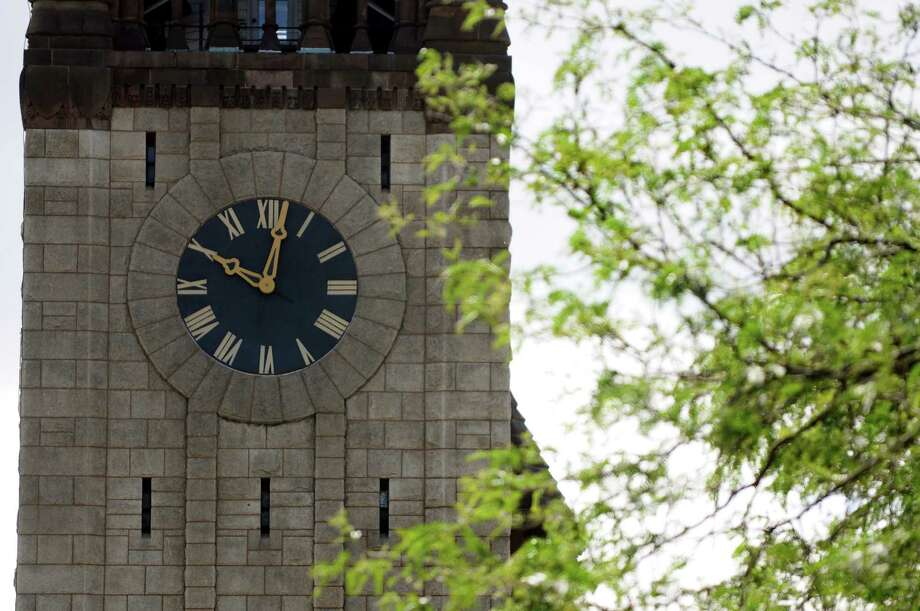The clock at City Hall is not operating properly on Wednesday, June 13, 2012, in Albany, N.Y. (Cindy Schultz / Times Union) Photo: Cindy Schultz / 00018068A