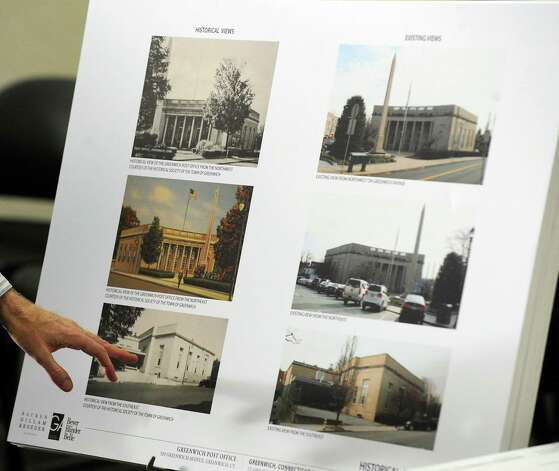 Historic images of the Greenwich Avenue post office presented by Architect Frank Prial, Jr., of Beyer Blinder Belle Architects of New York City during a Greenwich Historic District Commission meeting reviewing plans for the former Greenwich Avenue post office that is being leased to Restoration Hardware, at Greenwich Town Hall, Wednesday night, June 13, 2012. Photo: Bob Luckey / Greenwich Time