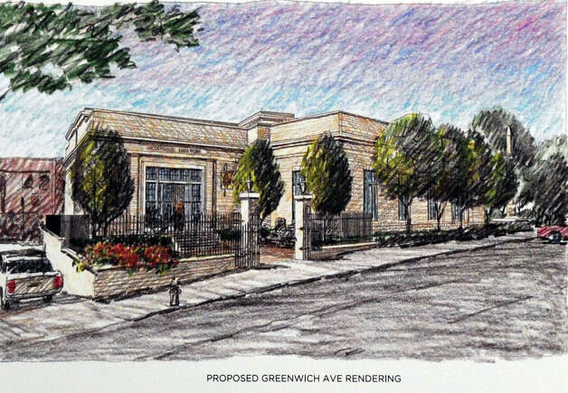A rendering of the proposed Greenwich Avenue entry to the former Greenwich Avenue post office that is being leased to Restoration Hardware presented during a Greenwich Historic District Commission meeting reviewing plans for the at Greenwich Town Hall, Wednesday night, June 13, 2012. Photo: Bob Luckey / Greenwich Time