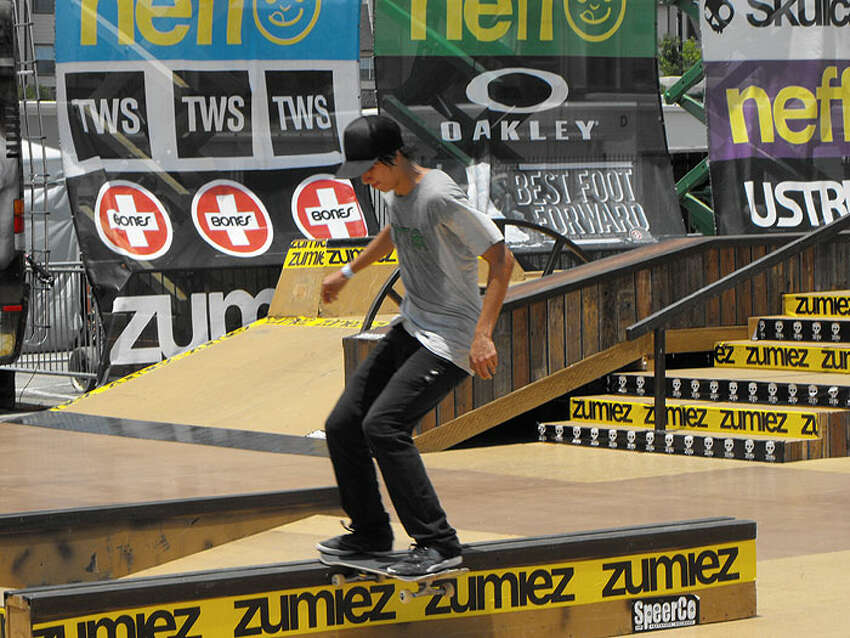 Local skateboarders compete at the Zumiez Couch Tour 2012 at Ingram Park Mall on Wednesday.