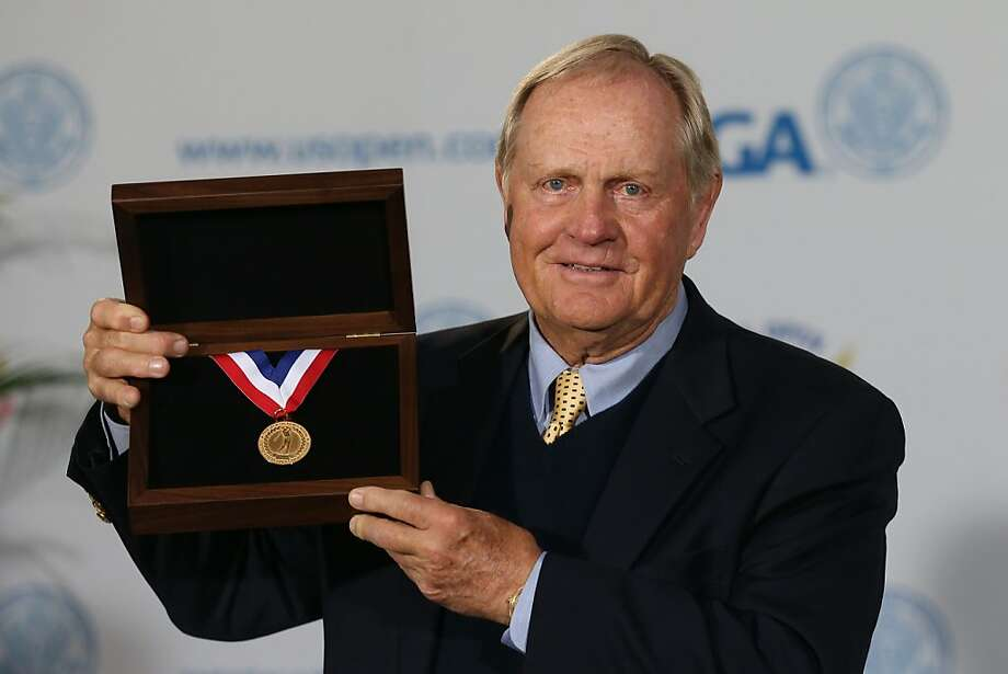 SAN FRANCISCO, CA - JUNE 13:  Jack Nicklaus poses with the newly named USGA Jack Nicklaus gold medal to be awarded to the US Open Champion starting in 2012 at a ceremony to honor Nicklaus's contributions to the game of golf prior to the start of the 112th U.S. Open at The Olympic Club on June 13, 2012 in San Francisco, California.  (Photo by David Cannon/Getty Images) Photo: David Cannon, Getty Images