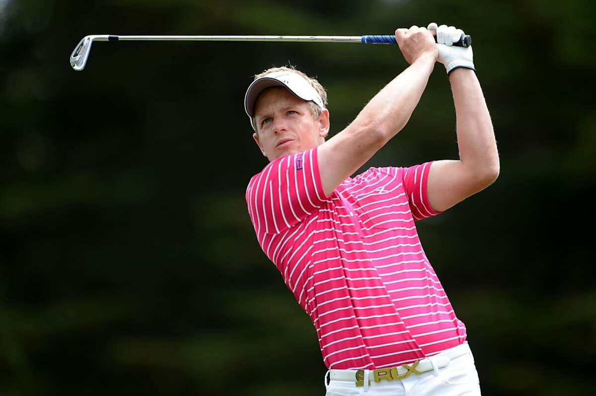 SAN FRANCISCO, CA - JUNE 13: Luke Donald of England hits a shot during a practice round prior to the start of the 112th U.S. Open at The Olympic Club on June 13, 2012 in San Francisco, California. (Photo by Stuart Franklin/Getty Images)