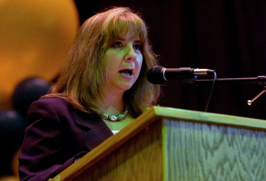 Principal Laurie LeBouthillier gives remarks, during Emmett O'Brien Technical High School's Class of 2012 Graduation Ceremony in Ansonia, Conn. on Wednesday June 13, 2012. Photo: Christian Abraham / Connecticut Post
