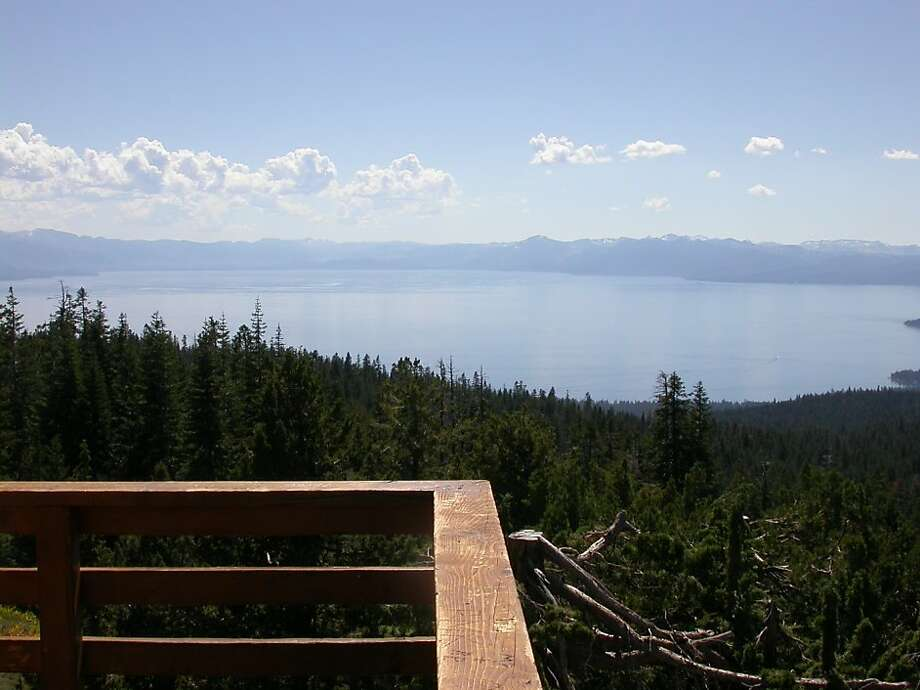 The gate is open and you can drive to the 8,656-foot Martis Peak Lookout this weekend for this view of north Lake Tahoe. Photo: Tom Steinstra, The Chronicle