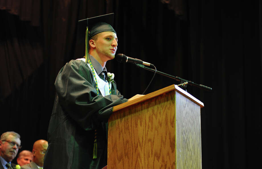 Graduate Frank Corso gives the Salutatory Address, during Emmett O'Brien Technical High School's Class of 2012 Graduation Ceremony in Ansonia, Conn. on Wednesday June 13, 2012. Photo: Christian Abraham / Connecticut Post