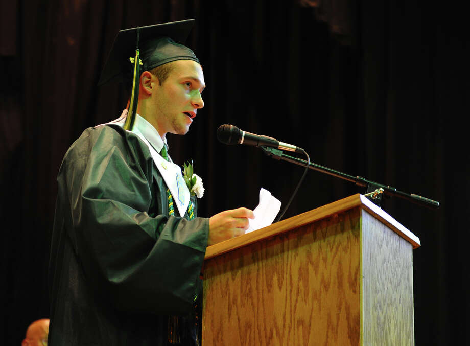 Graduate Thomas Buckles gives the Valedictory Address, during Emmett O'Brien Technical High School's Class of 2012 Graduation Ceremony in Ansonia, Conn. on Wednesday June 13, 2012. Photo: Christian Abraham / Connecticut Post