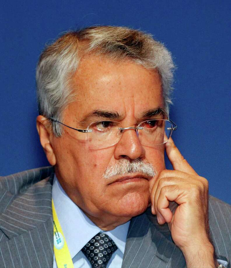 Saudi Arabia's Minister of Petroleum and Mineral Resources Ali Ibrahim Naimi listens to a speech during a seminar of the Organization of the Petroleum Exporting Countries (OPEC), at Vienna's Hofburg palace, Austria, Wednesday, June 13, 2012. OPEC is holding its quarterly meeting Thursday against a backdrop of a 24 percent crude price decline over the last month or so. Some of the group's 12 members, such as Iran and Venezuela, will likely call on the cartel to cut output in a bid to boost prices. (AP Photo/Ronald Zak) Photo: Ronald Zak / AP