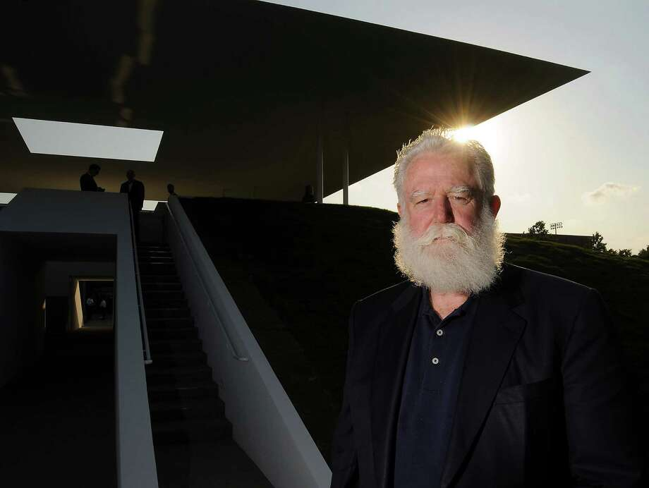 "James Turrell outside his new ""Twilight Epiphany"" skyspace at Rice University. Photo: Dave Rossman / © 2012 Dave Rossman"