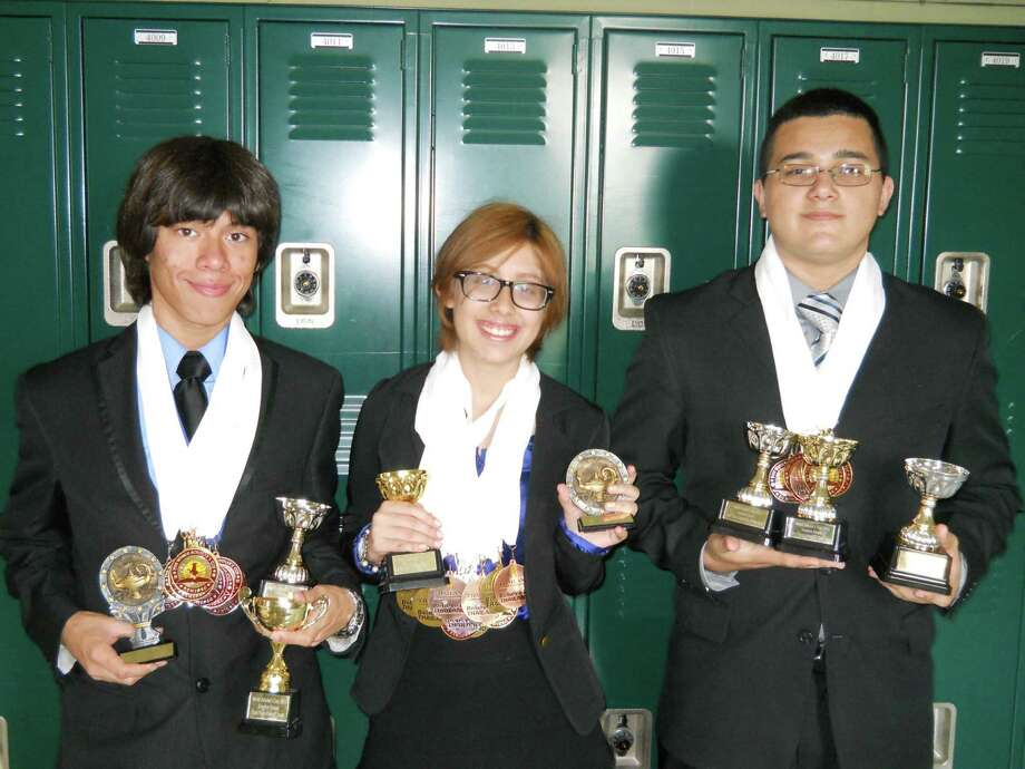 Pasadena High School students Pedro Reyes (left), Alondra Serna (center) and Eduardo Aleman (right) earned a spot in the global round of the World Scholar's Cup in Bangkok, after receiving the highest score in the world in their regional round. Photo: World Scholar's Cup