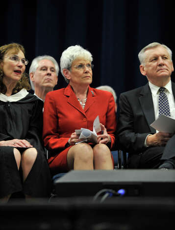 Lt. Gov. Nancy Wyman listens to the speakers during the Bethel High School graduation in the O'Neill Center at Western Connecticut State University's westside campus on Wednesday, June 13, 2012. Photo: Jason Rearick / The News-Times