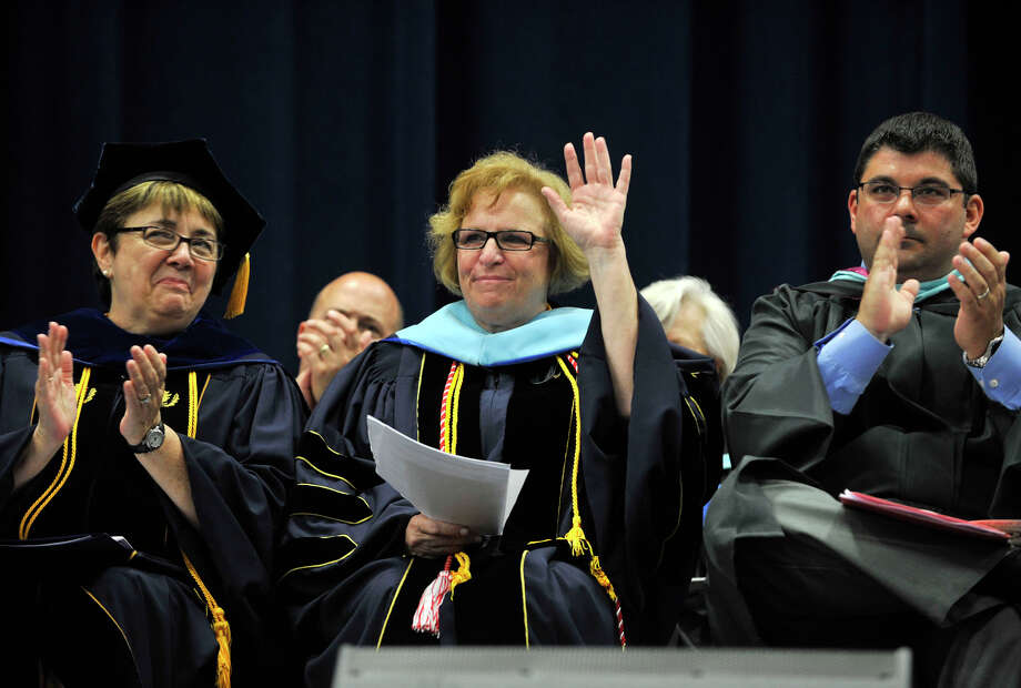 Bethel High School Principal Patricia Cosentino is recognized during the Bethel High School graduation in the O'Neill Center at Western Connecticut State University's westside campus on Wednesday, June 13, 2012. This is Cosentino's last year at Bethel High School. Photo: Jason Rearick / The News-Times