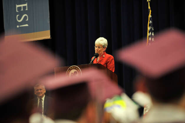 Lt. Gov. Nancy Wyman speaks during the Bethel High School graduation in the O'Neill Center at Western Connecticut State University's westside campus on Wednesday, June 13, 2012. Photo: Jason Rearick / The News-Times