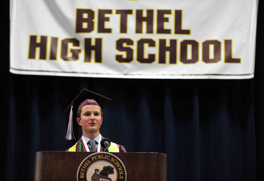 Valedictorian Brian Michalka speaks during the Bethel High School graduation in the O'Neill Center at Western Connecticut State University's westside campus on Wednesday, June 13, 2012. Photo: Jason Rearick / The News-Times