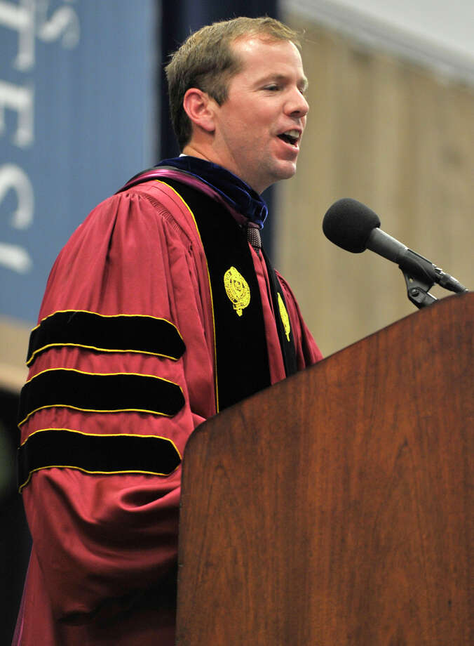 Superintendent of Bethel Schools Kevin Smith speaks during the Bethel High School graduation in the O'Neill Center at Western Connecticut State University's westside campus on Wednesday, June 13, 2012. Photo: Jason Rearick / The News-Times