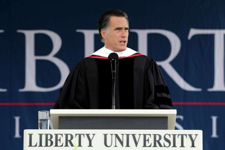 Republican presidential candidate, former Massachusetts Gov. Mitt Romney delivers the commencement address at the Liberty University in Lynchburg, Va, Saturday, May 12, 2012. Photo: AP