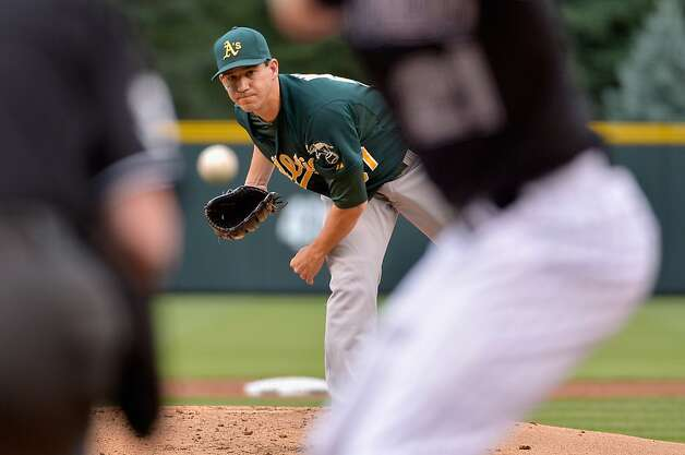 DENVER, CO - JUNE 13:  Starting pitcher Tommy Milone #57 of the Oakland Athletics delivers against Tyler Colvin #21 of the Colorado Rockies during Interleague Play at Coors Field on June 13, 2012 in Denver, Colorado.  (Photo by Doug Pensinger/Getty Images) Photo: Doug Pensinger, Getty Images