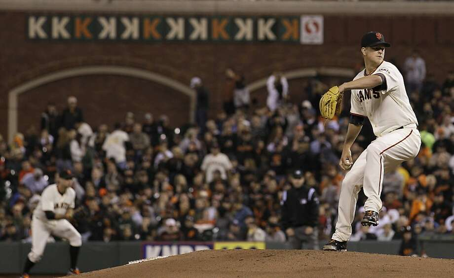 San Francisco Giants pitcher Matt Cain delivers against the Houston Astros during the seventh inning of a baseball game in San Francisco, Wednesday, June 13, 2012. (AP Photo/Jeff Chiu) Photo: Jeff Chiu, Associated Press