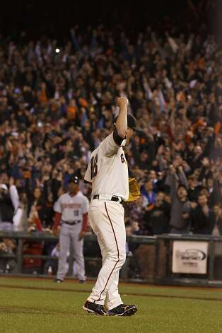 Matt Cain of the San Francisco Giants celebrates after pitching a perfect game against the Houston Astros at AT&T Park on June 13, 2012 in San Francisco, California. The San Francisco Giants defeated the Houston Astros 10-0. Matt Cain pitched a perfect game while striking out a career-high 14, and was the first in Giants franchise history. Photo: Jason O. Watson, Getty Images