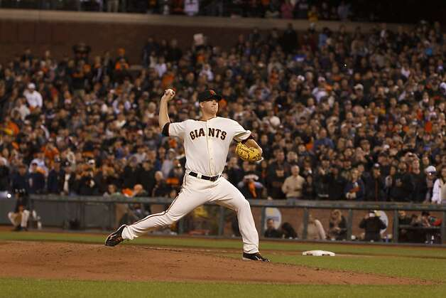 Matt Cain #18 of the San Francisco Giants pitches against the Houston Astros during the ninth inning at AT&T Park on June 13, 2012 in San Francisco, California. The San Francisco Giants defeated the Houston Astros 10-0. Matt Cain pitched a perfect game while stricking out a career-high 14, and was the first in Giants franchise history. Photo: Jason O. Watson, Getty Images