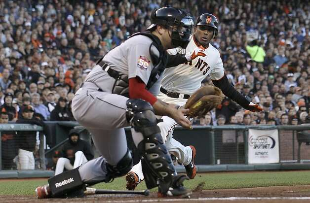 San Francisco Giants' Joaquin Arias, rear, slides in to home to score on a ground out by Gregor Blanco as Houston Astros catcher Chris Snyder waits for the throw during the second inning of a baseball game in San Francisco, Wednesday, June 13, 2012. Photo: Jeff Chiu, Associated Press