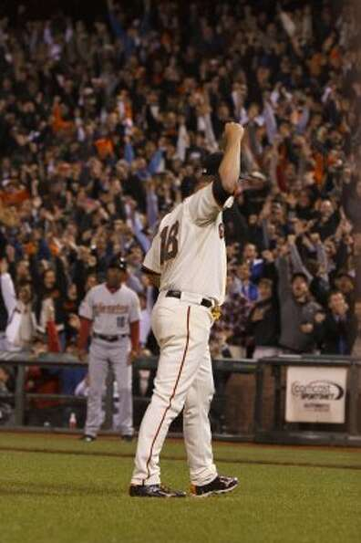 Matt Cain celebrates after pitching a perfect game. (Jason O. Watson / Getty Images)