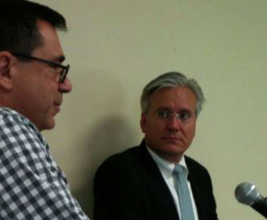 Selectman James Walsh, right, with one of his clients -- Mario Fontana, part owner of Bodega Taco Bar -- who he represented before the Zoning Board of Appeals last week. Photo: File Photo / Fairfield Citizen