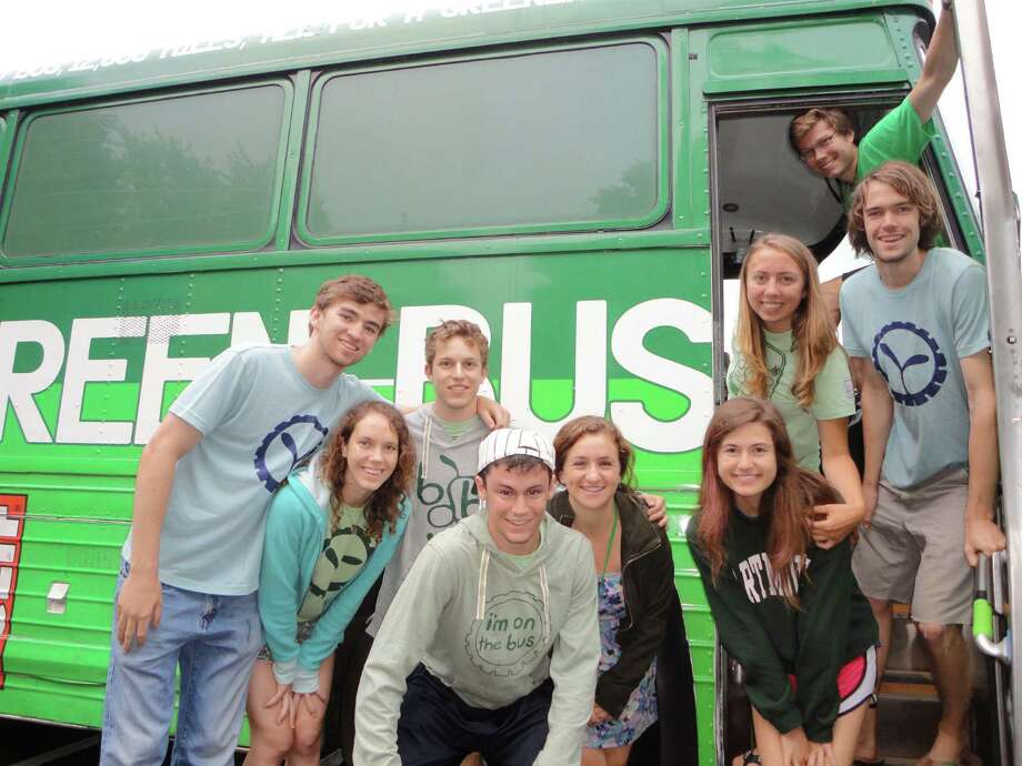 "Dartmouth College students and recent graduates traveling across the country this summer on the ""Big Green Bus"" viisted Fairfield on Wednesday night to promote a sustainable environment. They are, from left, Nick Pavlis, 20, of Fairfield; Anna Morenz, 21, of Tuscon, Ariz.; Ari Koeppel, 19, of Berkley, Calif.; Lorenzo Carlisle, 18, of Ashtabula. Ohio; Maya Viavante, 22, of Oakland, Calif.; Sam Parker, 19, of Kansas City, Kan.; Kelly McGlinchey, 21, of Holbrook, N.Y.; Remy Franklin, 21, of Taos, N.M., and Rob Collier, 21, of Hanover, N.H. Photo: Meg Barone / Fairfield Citizen freelance"
