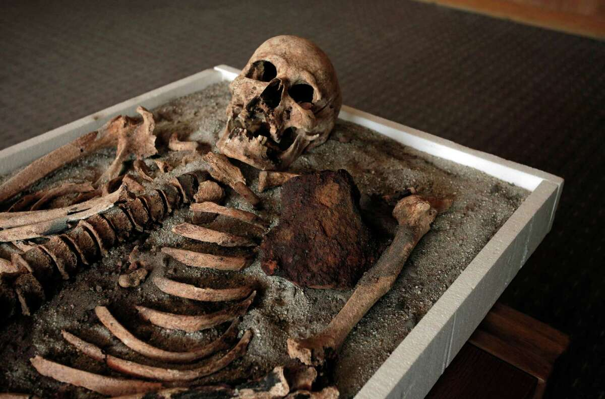 A skeleton dating back to the Middle Ages and recently unearthed in the black sea town of Sozopol, and displayed at National History Museum in Sofia, Thursday. Ever since archaeologists announced last week that they had found two ancient skeletons in Bulgaria with iron rods thrust through their chests, the media have been reporting how Bulgarians once did that to prevent the dead from emerging from the grave as vampires. On Saturday, one of those 700-year-old skeletons will be put on display at the National History Museum in Sofia, and its director, Bozhidar Dimitrov, says he expects there to be a big turnout. (AP Photo/Valentina Petrova)