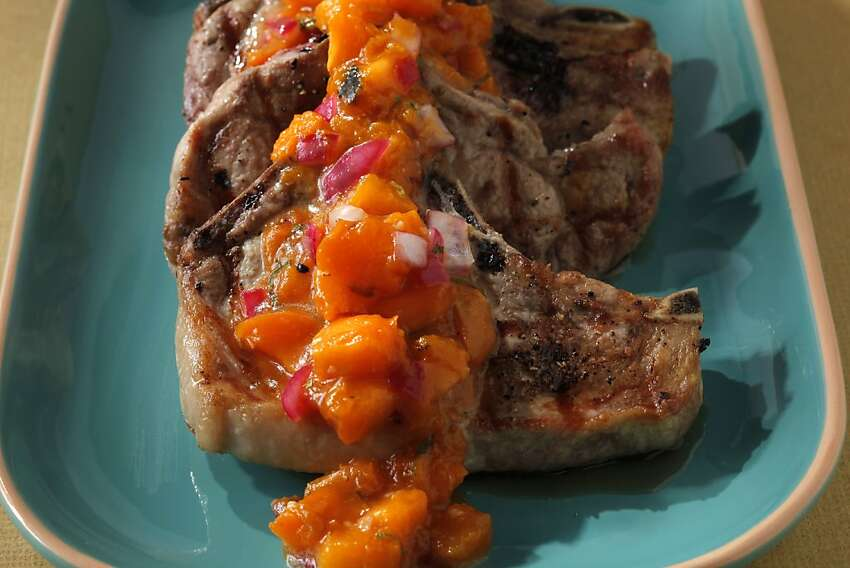 Pork Chops with Apricot Compote as seen in San Francisco, California on Wednesday, May 30, 2012. Food styled by Amanda Gold.