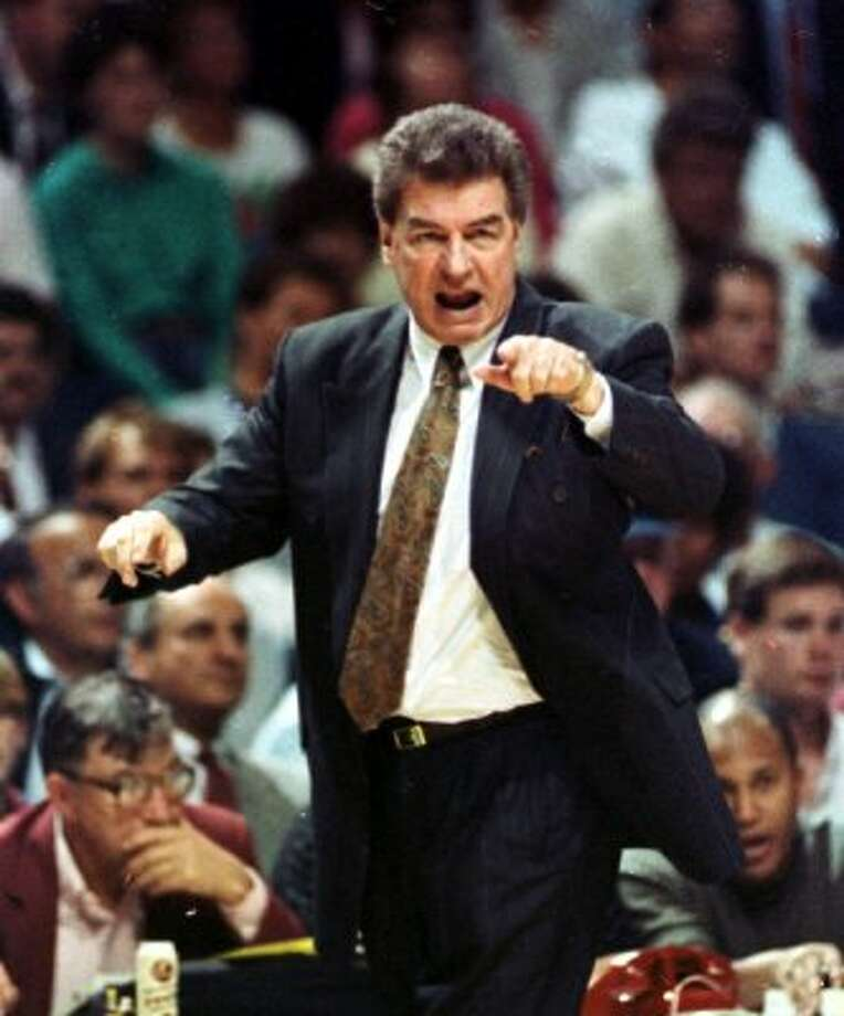 Detroit Pistons head coach Chuck Daly yells instructions from the sidelines during game four against the Milwaukee Bucks in Milwaukee, May 15, 1989. The Detroit Pistons  said Daly, who coached the United States to the 1992 Olympic gold medal after winning back-to-back NBA titles with the Pistons, died Saturday morning  May 9, 2009 in Florida. He was 78.  (AP Photo/Duane Burleson, File) (AP)