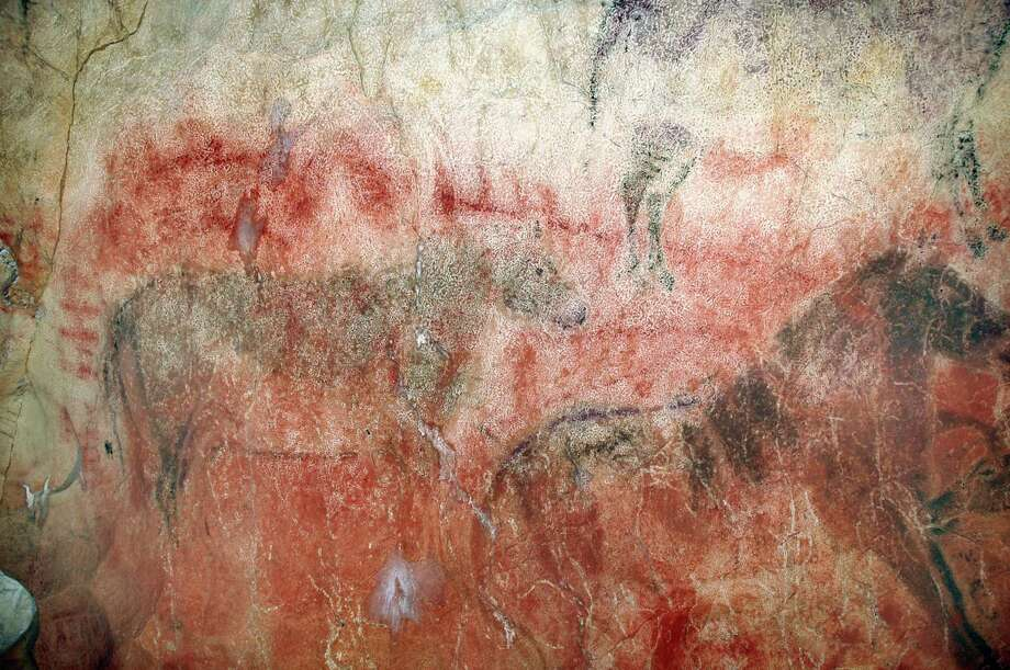 "This undated photograph shows large (2 meter) paintings of horses at the Tito Bustillo Cave, Spain. These overlay earlier red paintings which, from uranium-series dating elsewhere in the cave, might be older than 29,000 years, making them the oldest cave paintings in Europe.  The practice of cave art in Europe thus began up to 10,000 years earlier than previously thought, indicating the paintings were created either by the first anatomically modern humans in Europe or, perhaps, by Neanderthals.  AFP PHOTO / SCIENCE / Courtesy of Rodrigo De Balbín Behrmann    == EMBARGOED FOR RELEASE: 1400 ET (18:00 GMT) JUNE 14, 2012 / RESTRICTED TO EDITORIAL USE / MANDATORY CREDIT:  ""AFP PHOTO / SCIENCE / Courtesy of Rodrigo De Balbín Behrmann"" / NO SALES / NO MARKETING / NO ADVERTISING CAMPAIGNS / DISTRIBUTED AS A SERVICE TO CLIENTS ==Rodrigo De Balbín Behrmann/AFP/GettyImages Photo: RODRIGO DE BALBÍN BEHRMANN, AFP/Getty Images / AFP"