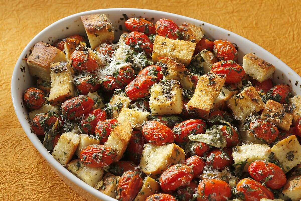 Tomato & Bread Gratin as seen in San Francisco, California on Wednesday, June 6, 2012. Food styled by Amanda Gold.