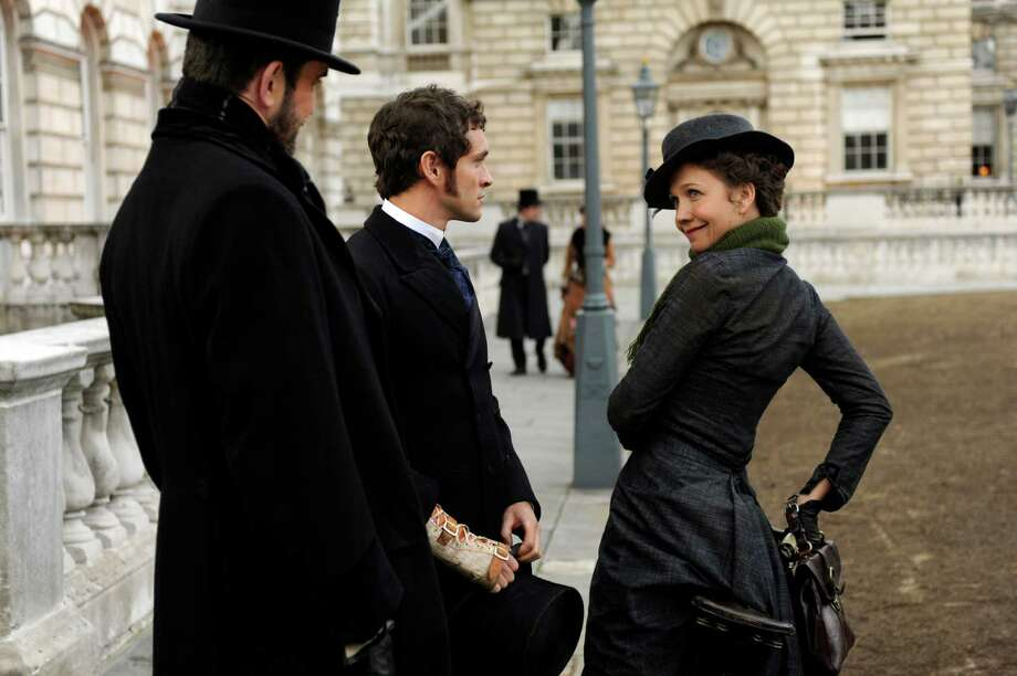 """Left to Right: Rupert Everett as Edmund St. John-Smythe, Hugh Dancy as Mortimer Granville and Maggie Gyllenhaal as Charlotte Dalrymple in """"Hysteria."""" Photo by Liam Daniel/Sony Pictures Classics"""