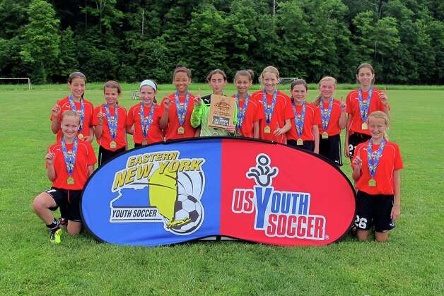 The U12 Girls Alleycats team. From left: Anna Kuhl, Clifton Park; Isabelle ?Izzy? Lynch, Niskayuna; Maura Smith, Ballston Spa; Caroline Krohn, Schoharie; Ya? Nique ?Ya Ya? Van Ness, Niskayuna; Penny Rocchio, Castleton; Dora Hayes, Rensselaer; Kelly Hamlin, Clifton Park; Bridget Larkin, Loudonville; Janina Rudzinski, Watervliet; Holly Moore, Delmar; and Sloan Howard, Ballston Spa. Missing: Grace Qian, Clifton Park.