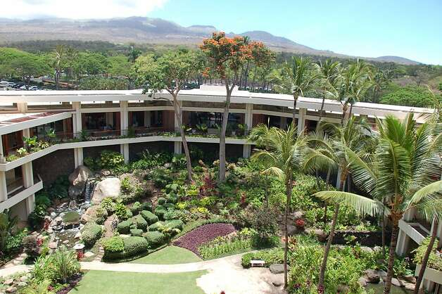 Cinder cones on the slopes of Haleakala draw the eye upward from the African tulip and palm trees lining the lush courtyard of the former Maui Prince,  now the Makena Beach and Golf Resort. Photo: Jeanne Cooper, Special To SFGate