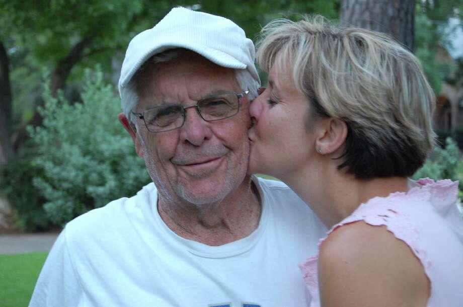 Mary Stockton with her dad, Carlton Nebel. He's the oldest active umpire in Missouri at 85. Photo: Claudia Feldman / family photo