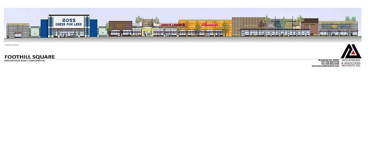 A conceptual exterior rending of various shops around the proposed renovations in East Oakland's Foothill Square.
