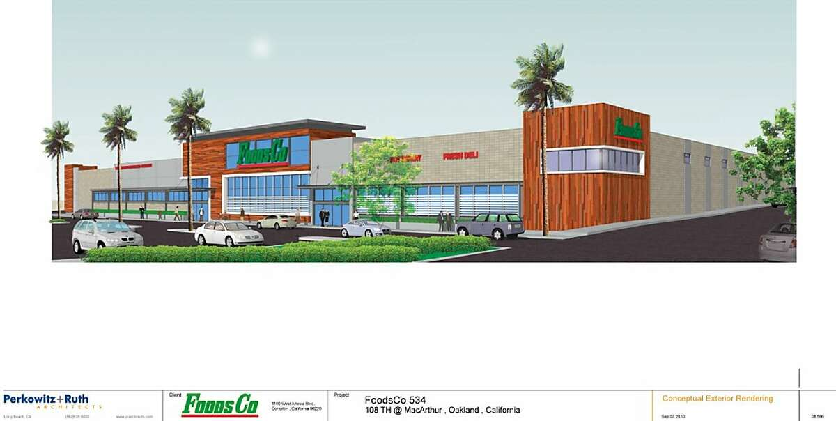 A conceptual exterior rending of FoodCo. planned in East Oakland's Foothill Square.