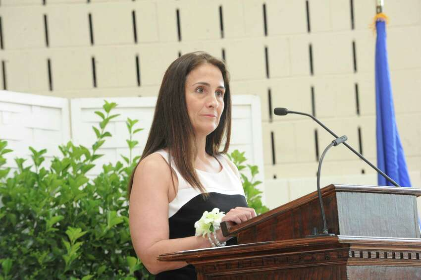 Jennifer M. Daniels, president of the board of trustees, speaks during Greenwich Country Day School's 85th commencement Thursday, June 14, 2012.