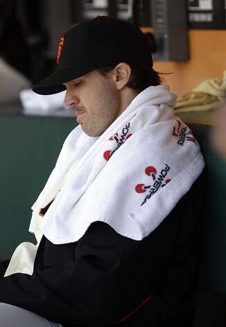 San Francisco Giants starting pitcher Barry Zito sits in the dugout after being pulled from the game against the Houston Astros during the sixth inning of a baseball game in San Francisco,  Thursday, June 14, 2012.  Houston won 6-3. (AP Photo/Marcio Jose Sanchez) Photo: Marcio Jose Sanchez, Associated Press