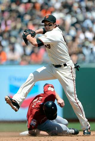 SAN FRANCISCO, CA - JUNE 14:  Ryan Theriot #5 of the San Francisco Giants gets the put out at second base while leaping over the sliding Brian Bixler #12 of the Houston Astros in the fifth inning at AT&T Park on June 14, 2012 in San Francisco, California.  (Photo by Thearon W. Henderson/Getty Images) Photo: Thearon W. Henderson, Getty Images