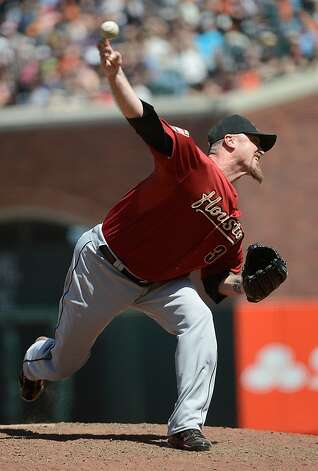 SAN FRANCISCO, CA - JUNE 14:  Brett Myers #39 of the Houston Astros pitches in the ninth inning against the San Francisco Giants at AT&T Park on June 14, 2012 in San Francisco, California. The Astros won the game 6-3.  (Photo by Thearon W. Henderson/Getty Images) Photo: Thearon W. Henderson, Getty Images