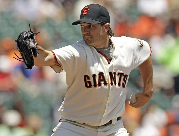 San Francisco Giants starting pitcher Barry Zito throws to the Houston Astros during the first inning of a baseball game in San Francisco, Thursday, June 14, 2012. (AP Photo/Marcio Jose Sanchez) Photo: Marcio Jose Sanchez, Associated Press