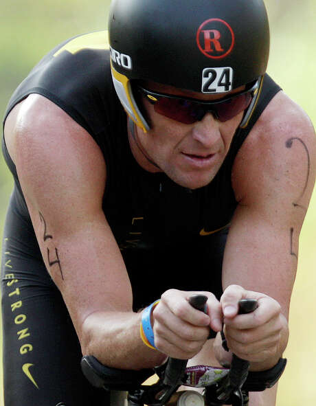 Lance Armstrong competes in the Ironman Panama 70.3. triathlon in Panama City, Panama, Feb. 12, 2012. Photo: Associated Press
