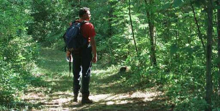 A hiker walks the paths at the Plotterkill Preserve in Schenectady County. (Skip Dickstein / Times Union Archive)