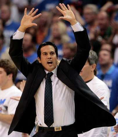 Miami Heat head coach Erik Spoelstra reacts during the first half at Game 2 of the NBA finals basketball series against the Oklahoma City Thunder, Thursday, June 14, 2012, in Oklahoma City. (AP Photo/Jeff Roberson) Photo: Jeff Roberson, Associated Press / AP